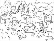 Farm Animals.  Coloring Book F...