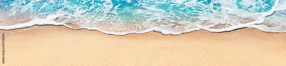 Fototapeta Aerial View Of Sandy Beach And Ocean With Waves