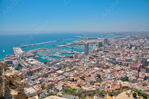 Cuadros en Lienzo Aerial view of Spanish city and port Alicante