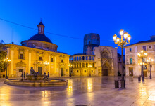 Night View Of Plaza De La Virgen In Valencia, Spain