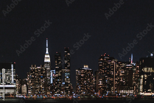 Fototapety, obrazy: New York Manhattan night city skyline
