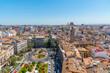 Aerial view of Plaza de la Reina in Valencia, Spain