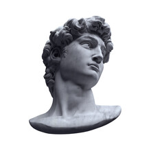 Monochrome 3D Rendering Illustration Of Michelangelo's David Head Bust Classical Sculpture Isolated On Grey Background.
