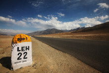 Long Road In The Desert With M...