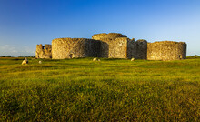 Catching The May Sunset On The Ruins Of Camber Castle On Marshland Near Rye In East Sussex South East England