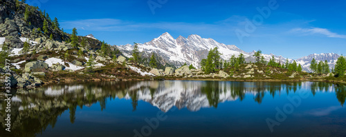 Alpine lake in idyllic environment amid rocks and forest Canvas Print