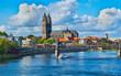 canvas print picture - Panoramablick über die Stadt Magdeburg an der Elbe in Sachsen-Anhalt, Deutschland