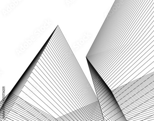 Leinwand Poster abstract architecture 3d illustration sketch