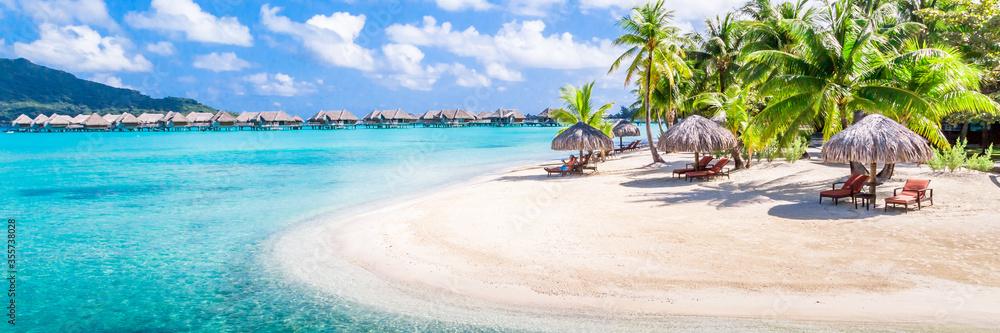 Fototapeta Bora Bora Island, French Polynesia. Web banner in panoramic view.