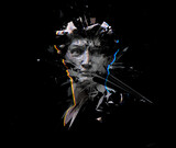 Digital offset CMYK illustration of polygonal mesh head bust sculpture of Michelangelo's David from 3D rendering exploding and shattered into pieces. Isolated on black background. - 355738079