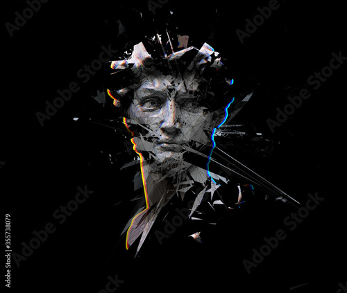 Photo Digital offset CMYK illustration of polygonal mesh head bust sculpture of Michelangelo's David from 3D rendering exploding and shattered into pieces