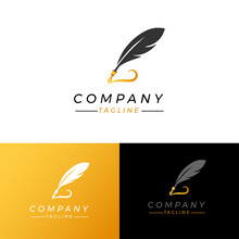 Luxury Fountain Pen Logo Vecto...