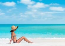 Beach Woman Sun Tanning Sunbat...
