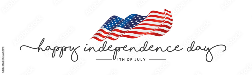 Fototapeta Independence day Happy 4th of july handwritten typography text USA wavy flag white background banner