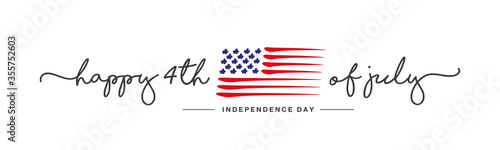 Obraz 4th of july Happy Independence day handwritten typography text USA abstract flag white background banner - fototapety do salonu