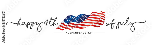 Fototapeta 4th of july Happy Independence day handwritten typography text USA wavy flag white background banner obraz