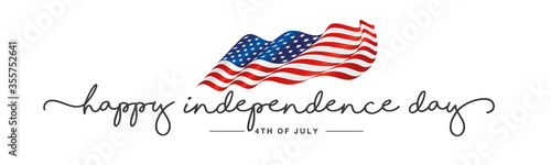 Independence day Happy 4th of july handwritten typography text USA wavy flag white background banner - 355752641