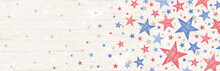 Banner With Grunge USA Background With Red And Blue Stars. Decorative American Banner Suitable For Background, Headers, Posters, Cards, Website. Vector Illustration