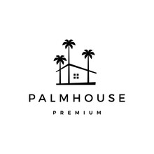 Palm House Tree Home Logo Vect...