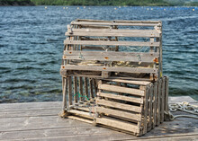 Old Lobster Traps On A Dock In Newfoundland And Labrador, Canada