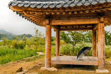 Open Umbrella On Oriental Gazebo