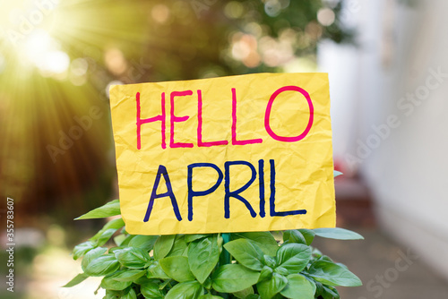 Photo Word writing text Hello April