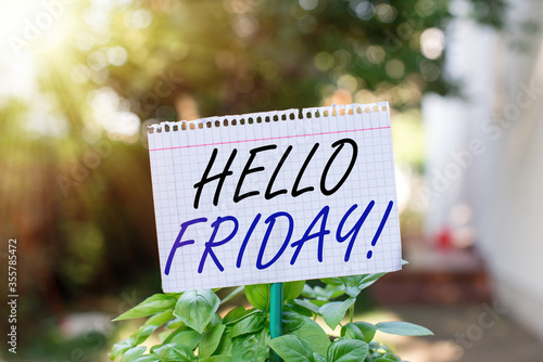 Photo Text sign showing Hello Friday
