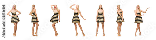 Fotografía Beautiful girl in gold and black dress isolated on white