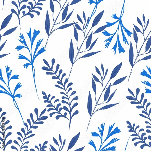 Tapeta niebieska  flowers-leaves-seamless-pattern-indigo-blue-for-fabric-and-textiles