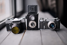 Three Old Reflex Cameras Isola...