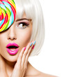 Surprised face of a pretty woman  with white hairs and multicolor nails