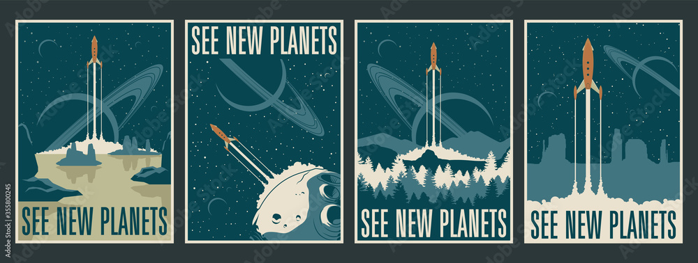 Fototapeta Retro Futurism Space Posters, Space Journes, Tourism, Alien Planets Landscapes, Mid Century Modern Style Rockets