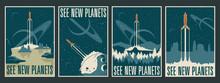 Retro Futurism Space Posters, ...