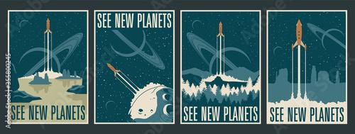 Obraz Retro Futurism Space Posters, Space Journes, Tourism, Alien Planets Landscapes, Mid Century Modern Style Rockets - fototapety do salonu