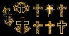 Religion Gold Cross Icon Set Isolated On Black Background.  Big Collection Of Christian Symbol Design. Decorated Crosses Signs Or Ornamented Crosses Symbols.  Illustration