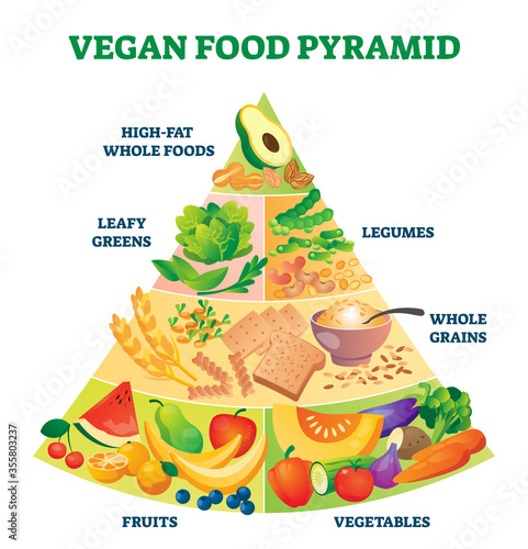 Vegan food pyramid vector illustration Fototapeta