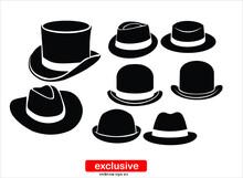 Vintage Hats Icons.Flat Design...