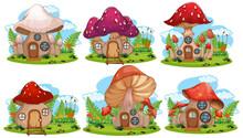 Set Of Isolated Mushroom Fairy...