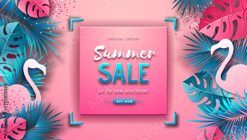 Cuadros en Lienzo Summer sale poster with pink and blue tropic leaves and flamingo on pink background