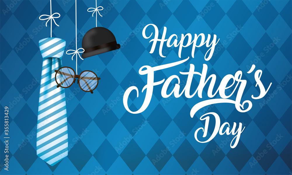 Fototapeta Striped necktie glasses and hat hanging of fathers day vector design