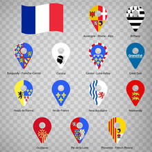 Thirteen Flags The Regions Of France  - Alphabetical Order With Name.  Set Of 2d Geolocation Signs Like Flags Regions Of French Republic.  Thirteen Geolocation Signs For Your Design. EPS10.