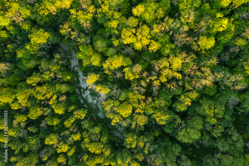 Fototapeta Beautiful drone landscape image over lush green Summer English countryside during late afternoon light obraz