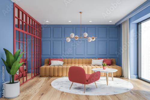Fototapeta Blue living room interior with beige sofa obraz