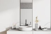 Round Sink In White Bathroom Interior