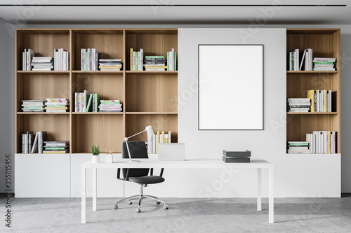 Obraz White CEO office interior with poster - fototapety do salonu