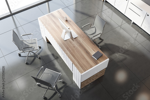 Obraz Gray and wooden CEO office, top view - fototapety do salonu
