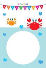Cute Crab Birthday Invitation Card