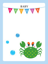 Baby Shower Invitation Card With Cute Crab Vector