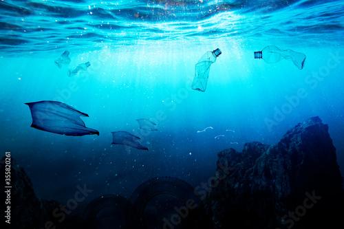 Garbage instead of fish in the sea Fototapeta
