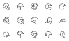 Helmets Vector Line Icons Set....